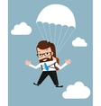 Lucky businessman is flying with parachute vector