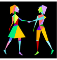 Abstract polygon couple holding hands vector