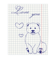 Paper sheet with ink drawing bear vector