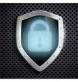 Metal shield with blue lock vector
