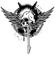 Skull punk with wings and guitars vector