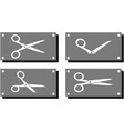 Set white scissors on gray plate vector