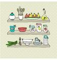Kitchen utensils on shelves sketch drawing vector
