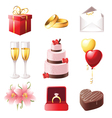 Love and marriage icons set vector