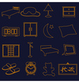 Home bedroom outline simple icons set eps10 vector