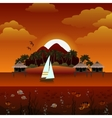 Tropical island sunset background vector