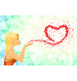 Girl heart sign love messages vector