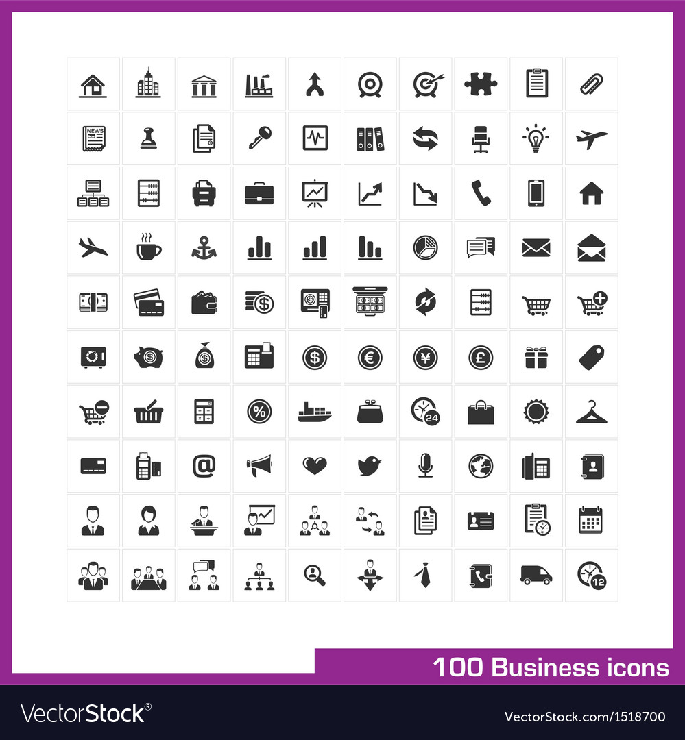100 business and finance icons set vector | Price: 3 Credit (USD $3)