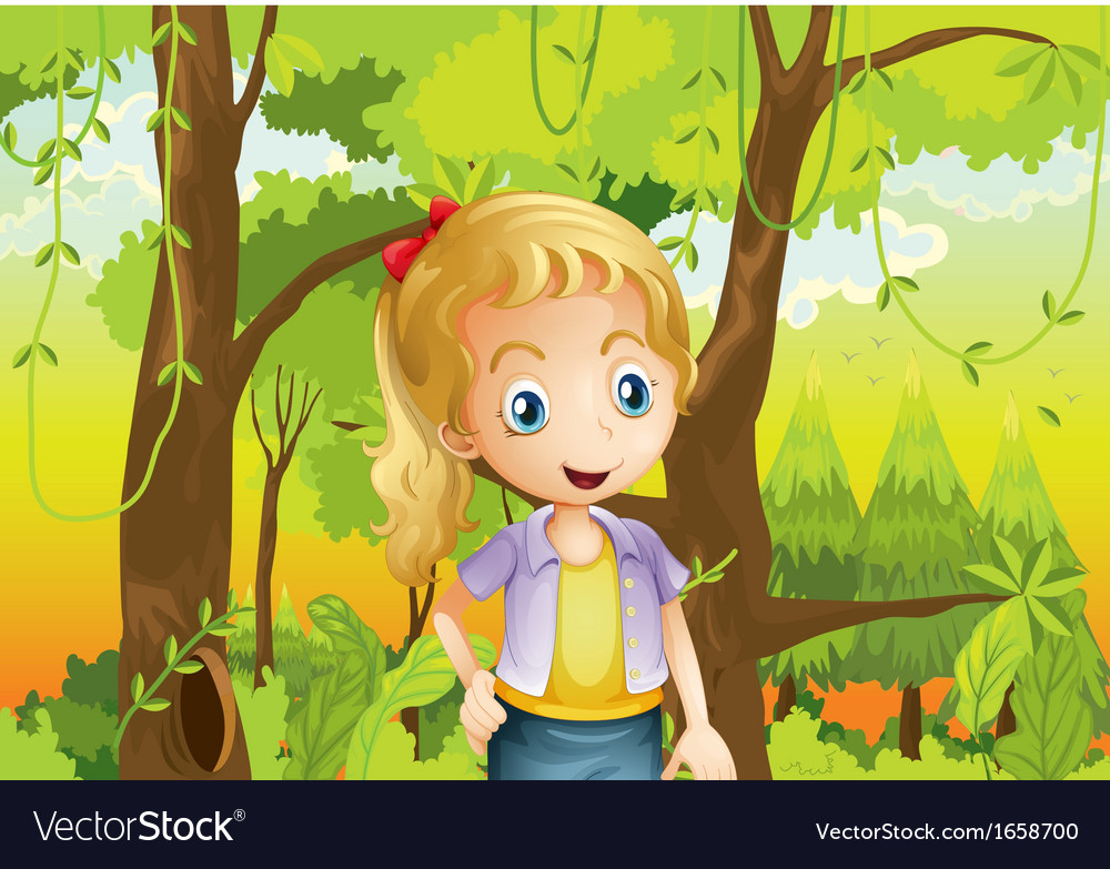 A young girl near the trees vector | Price: 3 Credit (USD $3)