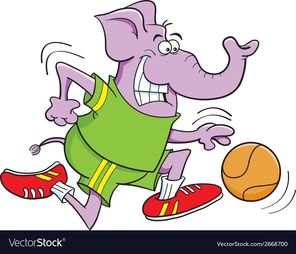Cartoon basketball elephant vector | Price: 1 Credit (USD $1)