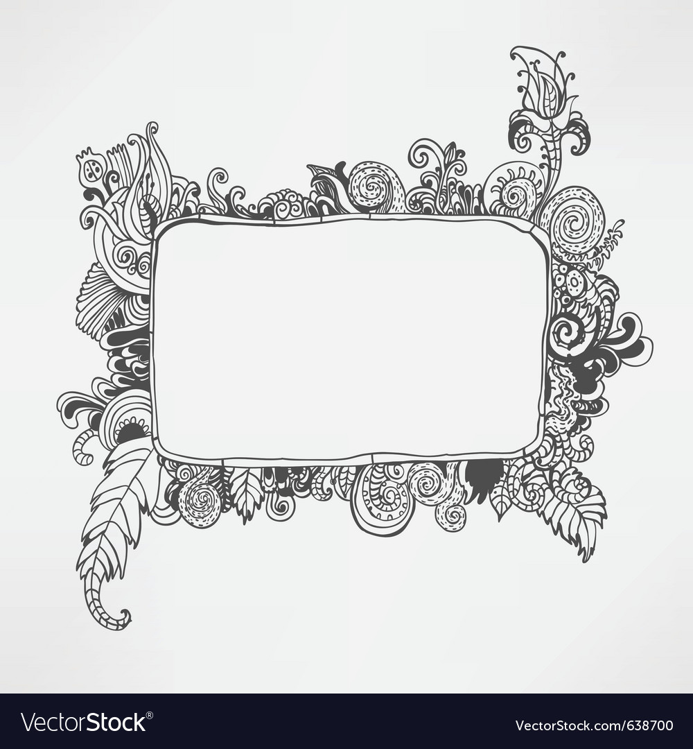 Hand drawn floral frame vector | Price: 1 Credit (USD $1)