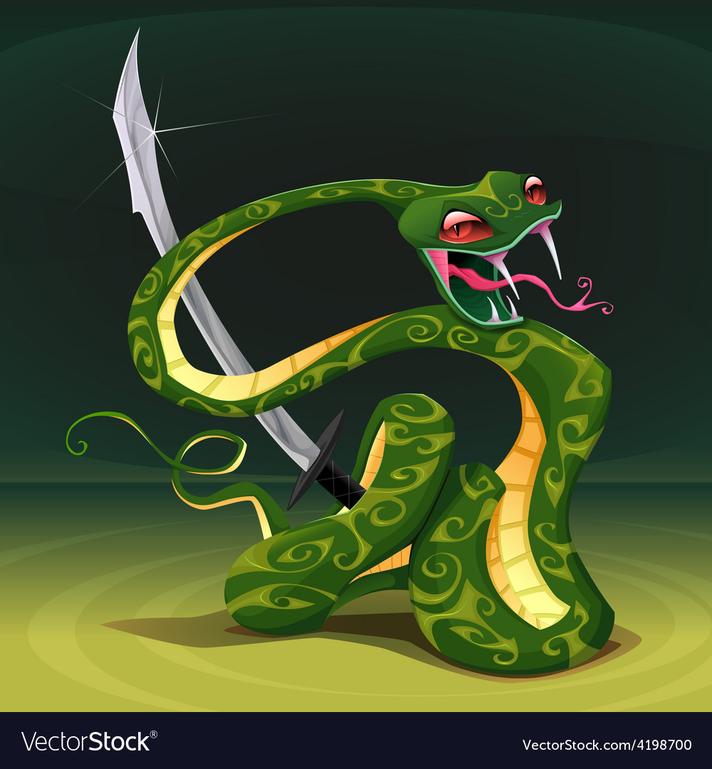 Poisonous snake with saber vector | Price: 3 Credit (USD $3)