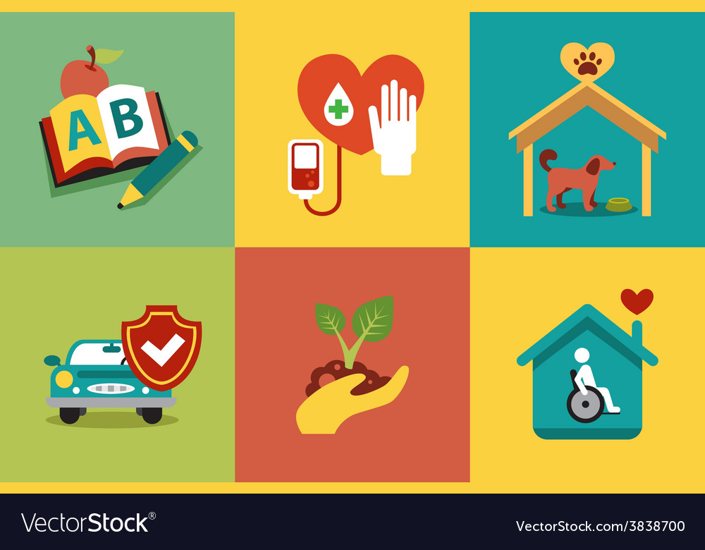 Set of modern icons in style flat on social issues vector | Price: 1 Credit (USD $1)
