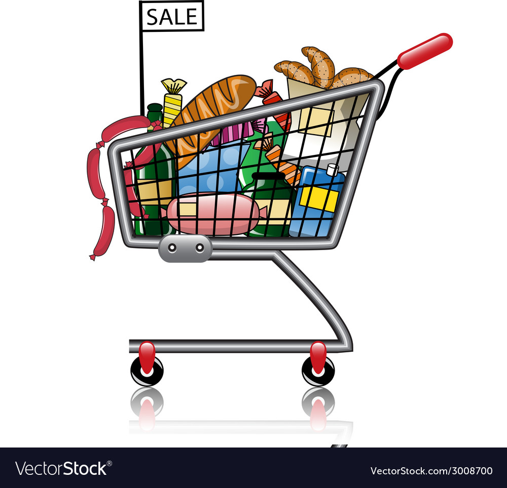 Shopping basket full of products vector | Price: 1 Credit (USD $1)