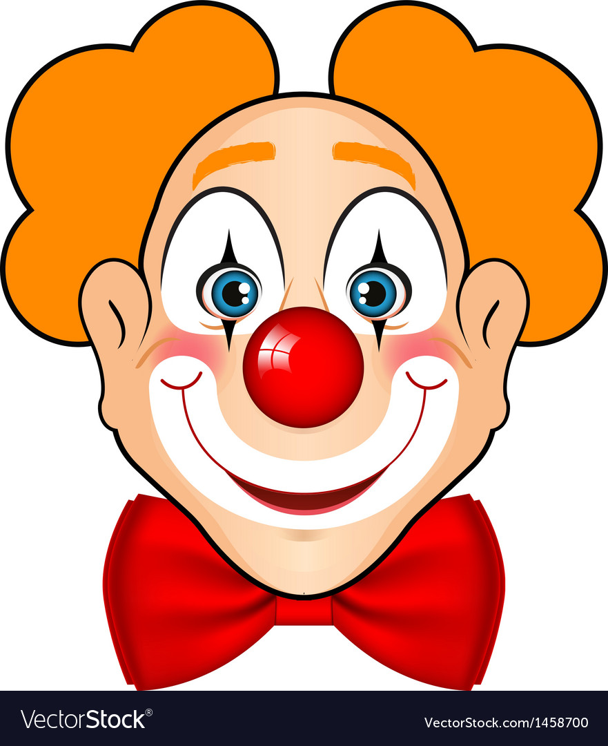 Smiling clown with red bow vector | Price: 1 Credit (USD $1)