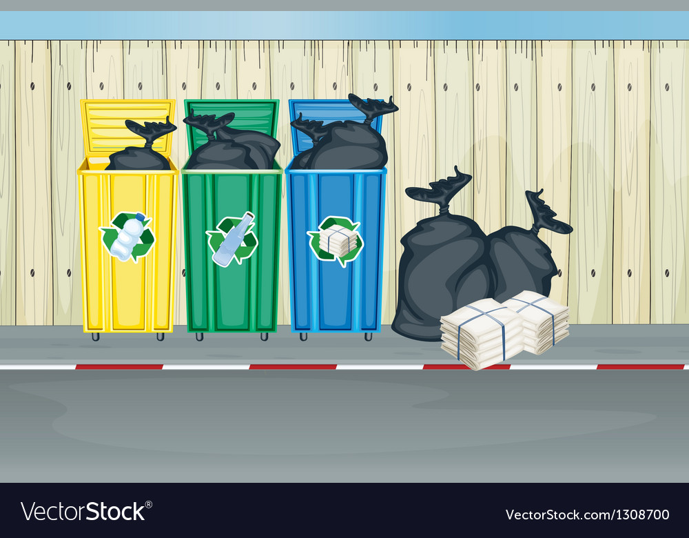 Three different colors of trash cans vector | Price: 1 Credit (USD $1)