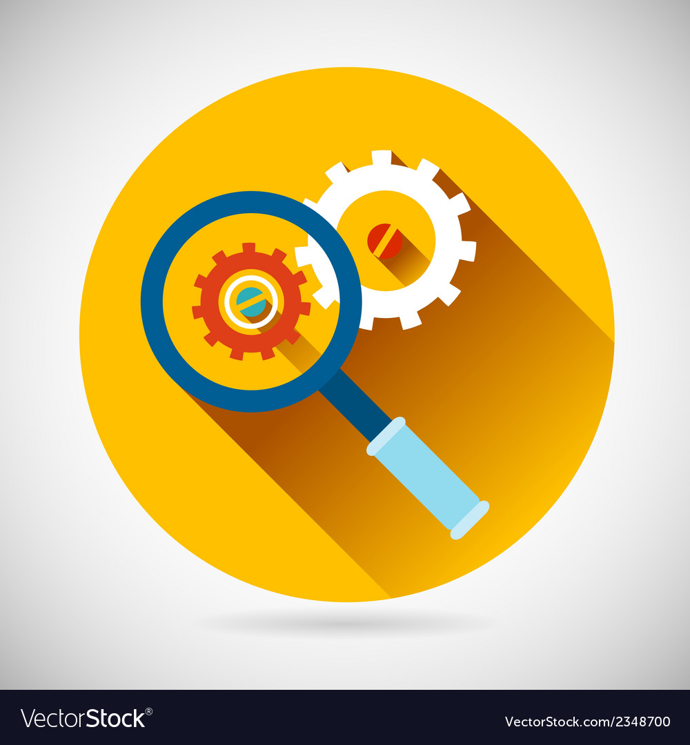 Troubleshooting symbol magnifying glass and gears vector | Price: 1 Credit (USD $1)