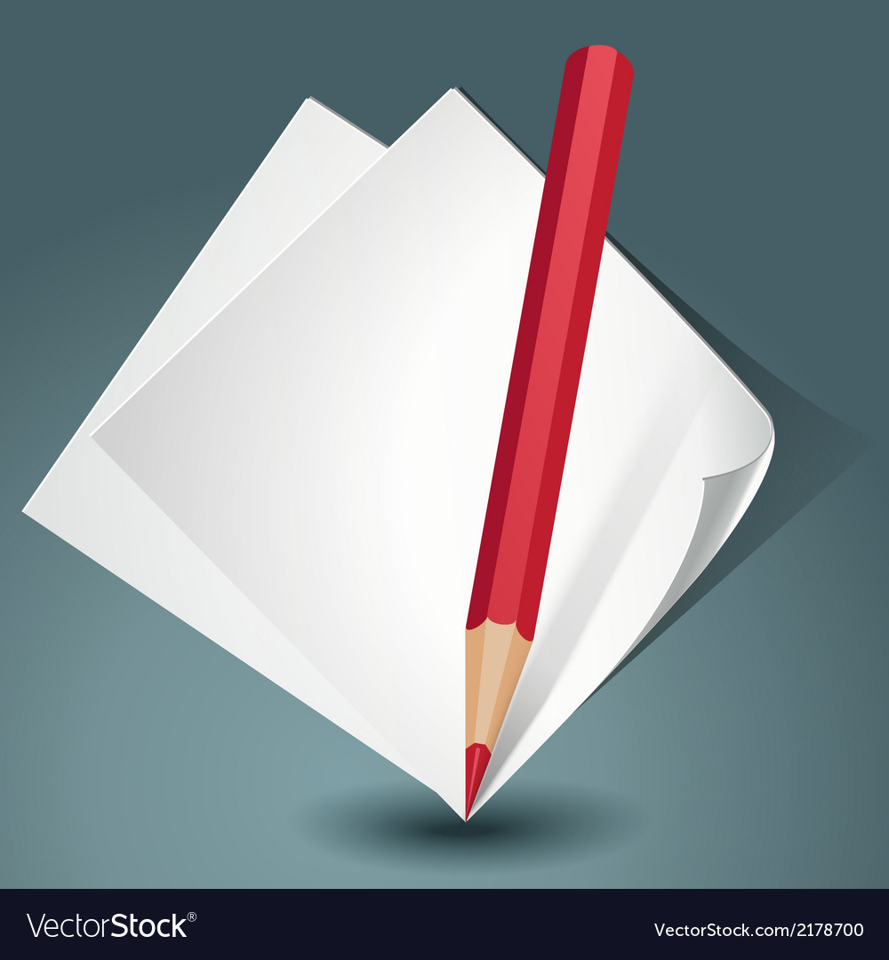 White paper with a red pencil vector | Price: 1 Credit (USD $1)