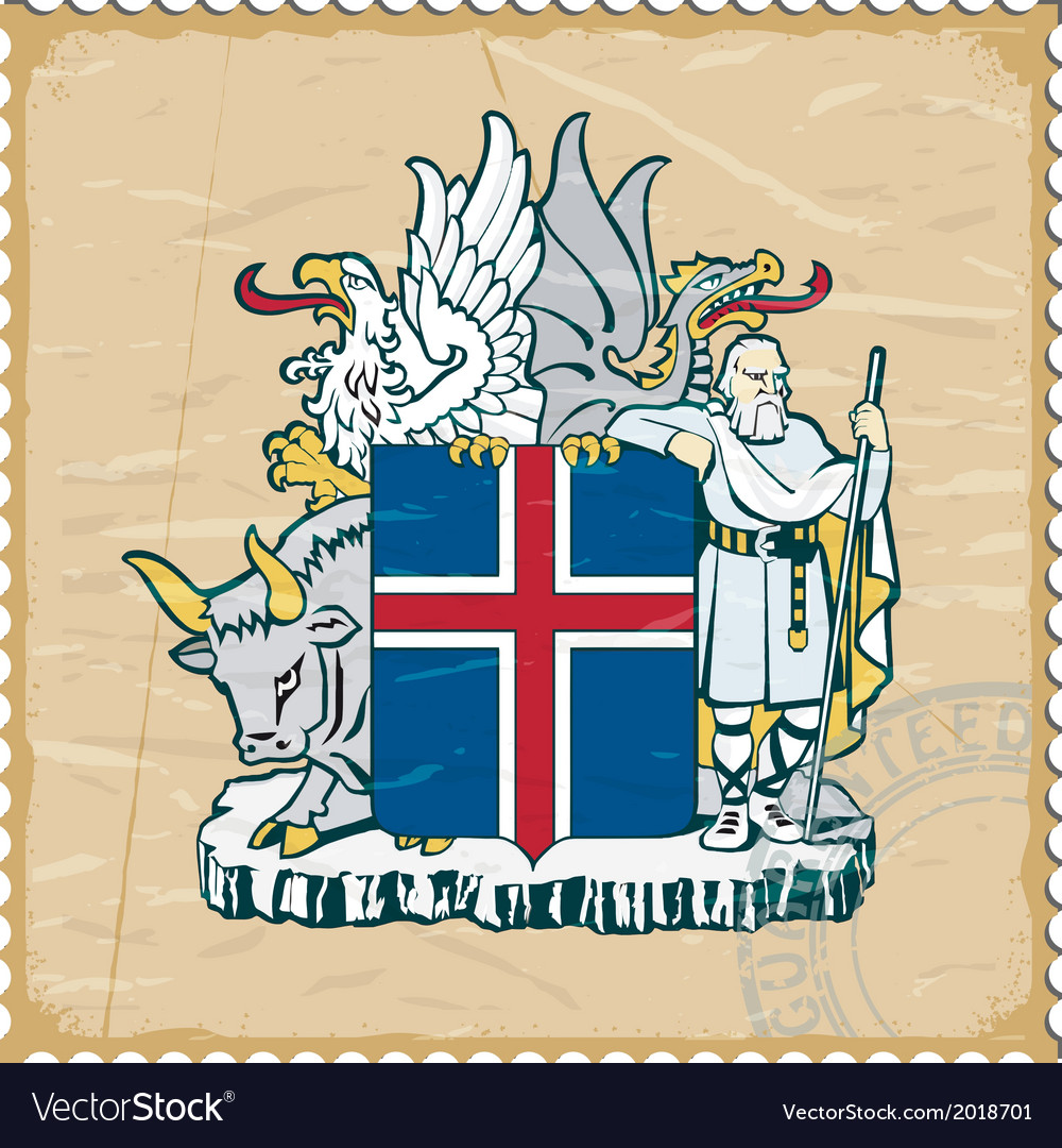 Coat of arms of iceland on the old postage stamp vector | Price: 1 Credit (USD $1)