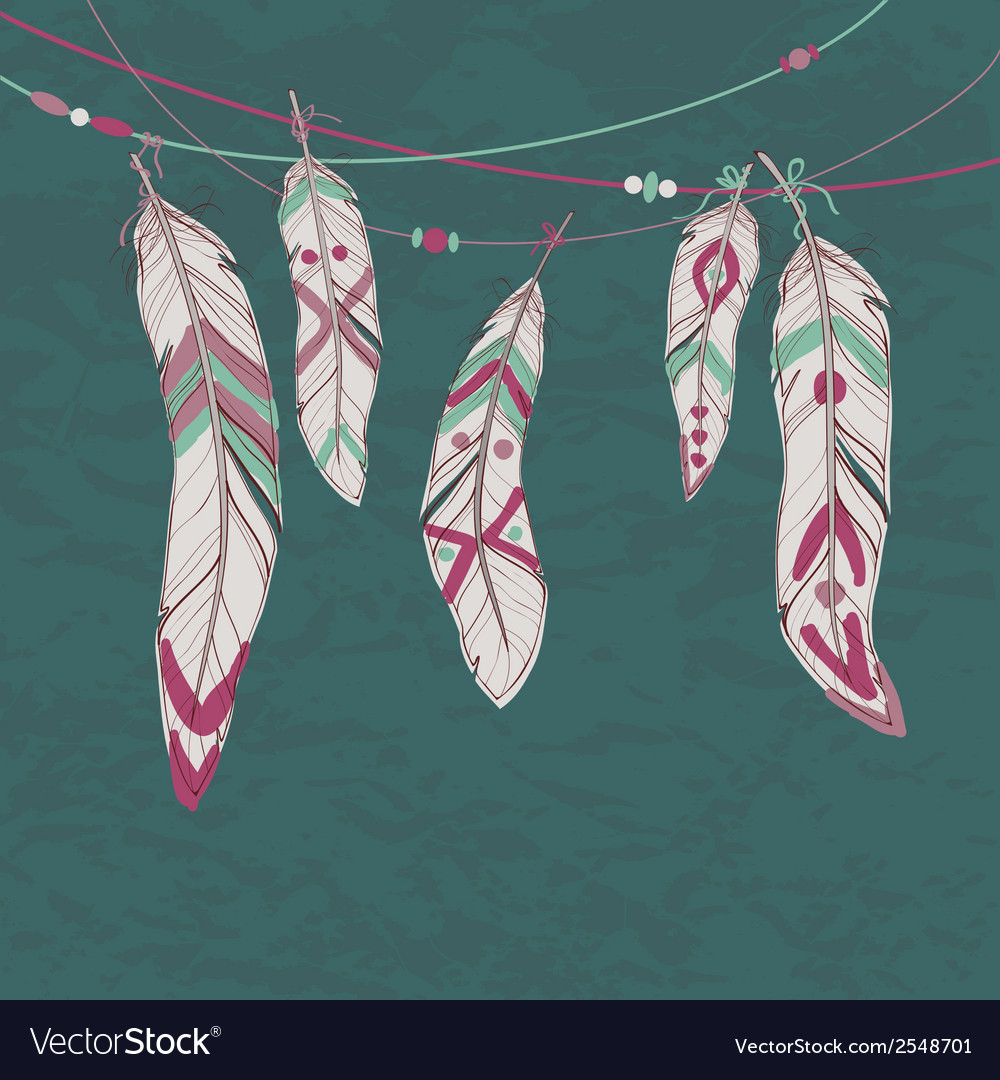 Colorful set of ethnic decorative feathers hanging vector | Price: 1 Credit (USD $1)