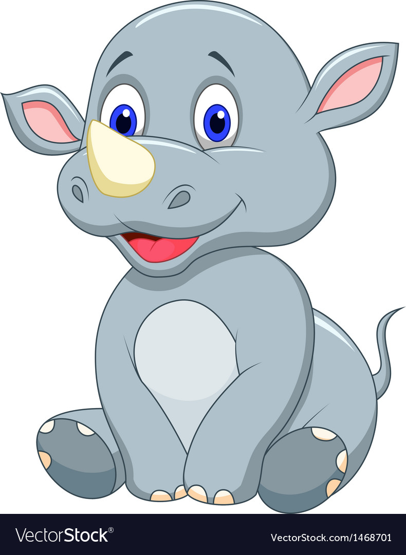 Cute baby rhino cartoon vector | Price: 1 Credit (USD $1)