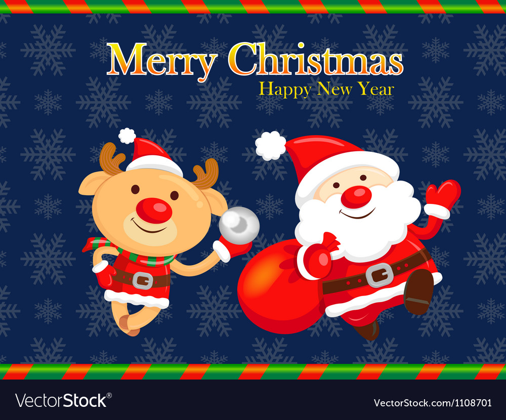 Decorated christmas card of santa claus and deer vector | Price: 3 Credit (USD $3)