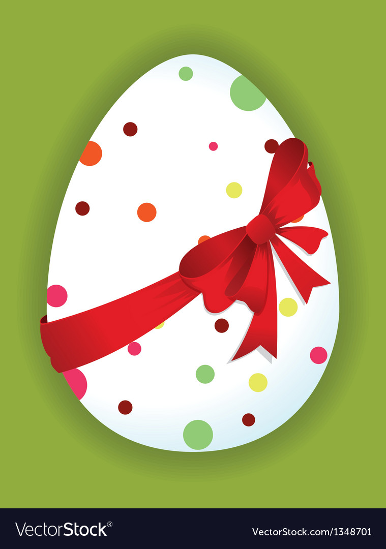 Funny egg with a red bow vector | Price: 1 Credit (USD $1)