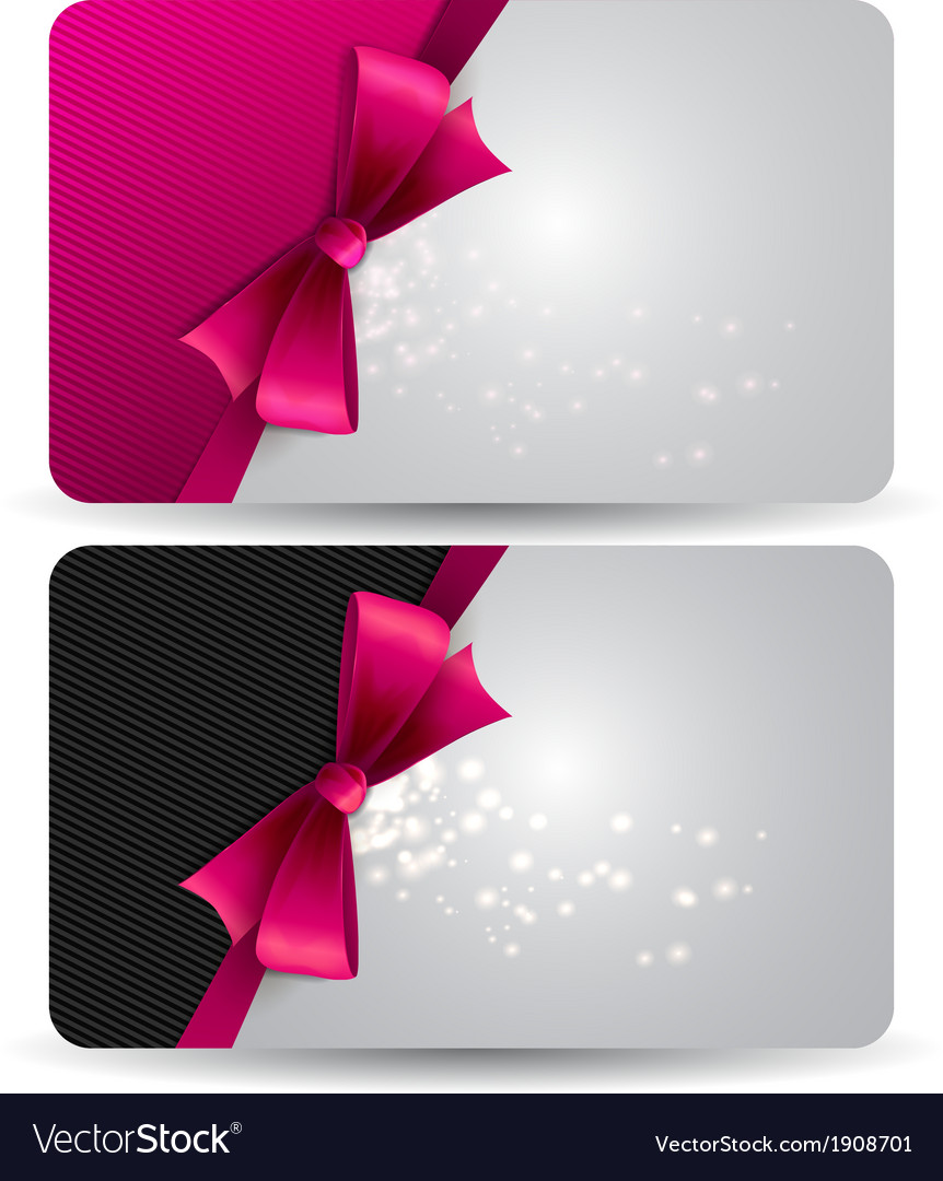 Holiday gift card with pink ribbons and bow vector | Price: 1 Credit (USD $1)
