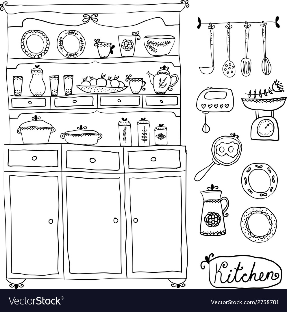 Kitchen set in  design elements of kitchen vector | Price: 1 Credit (USD $1)