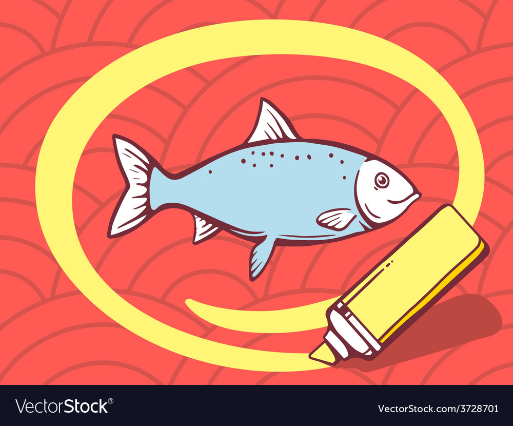 Marker drawing circle around fish on red vector | Price: 1 Credit (USD $1)