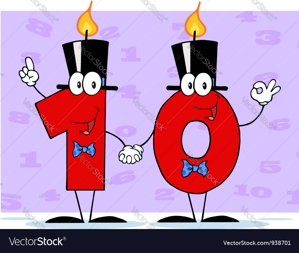 Number ten candles cartoon character vector | Price: 1 Credit (USD $1)
