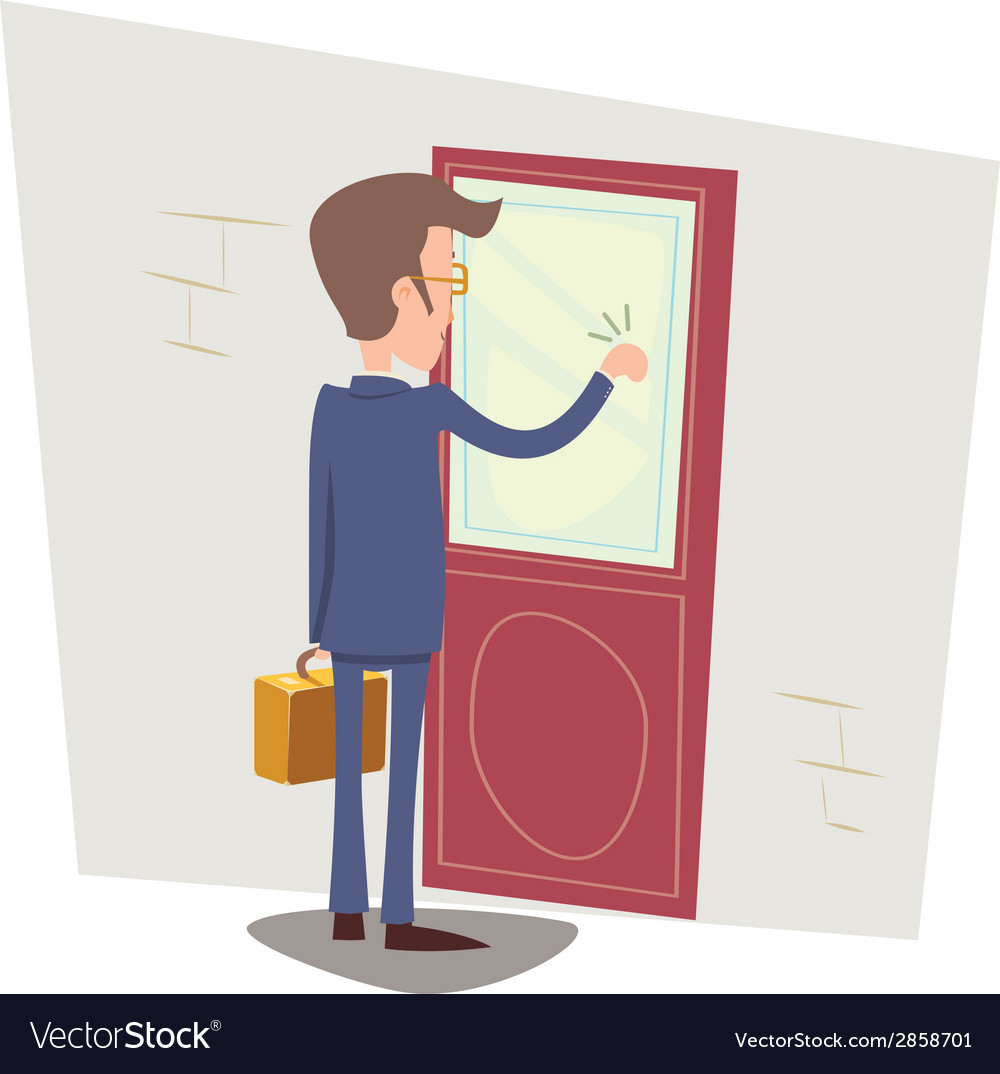 Oriented happy businessman with briefcase knocking vector | Price: 1 Credit (USD $1)