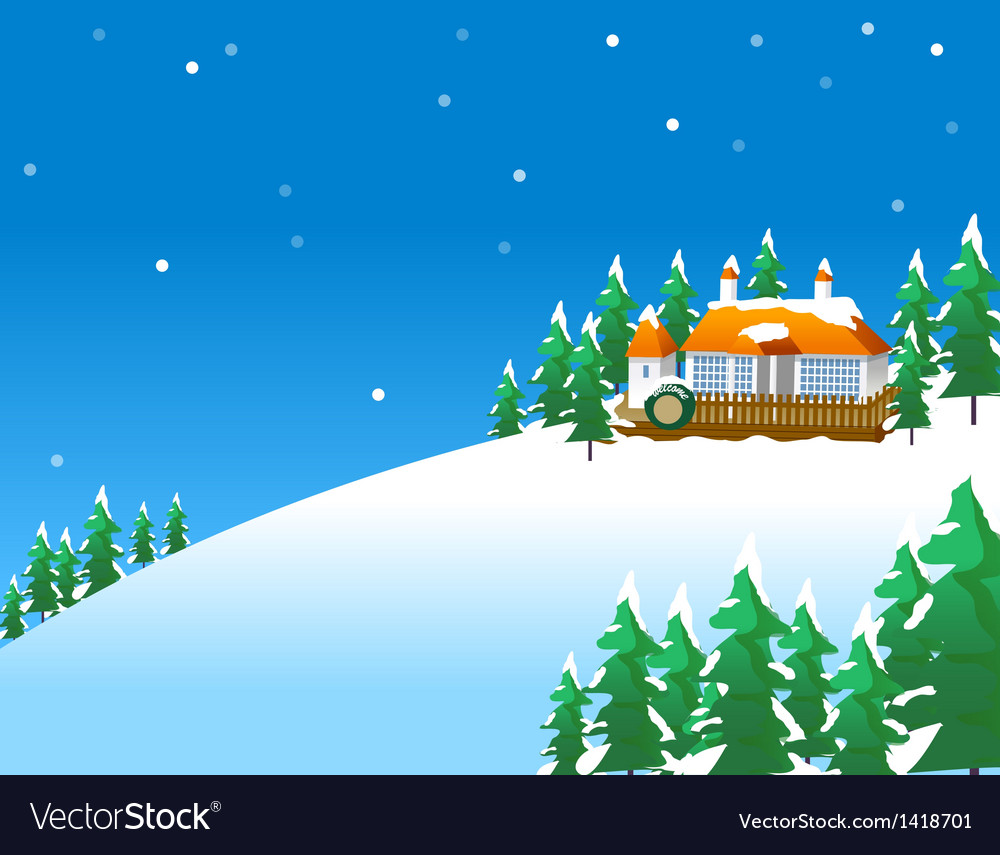Snowy winter scene in the countryside with vector | Price: 1 Credit (USD $1)