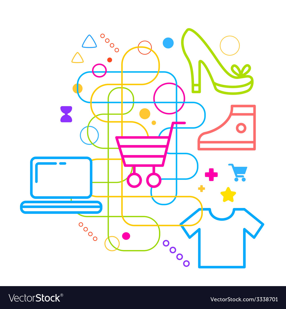 Symbols of shopping on abstract colorful light vector | Price: 3 Credit (USD $3)