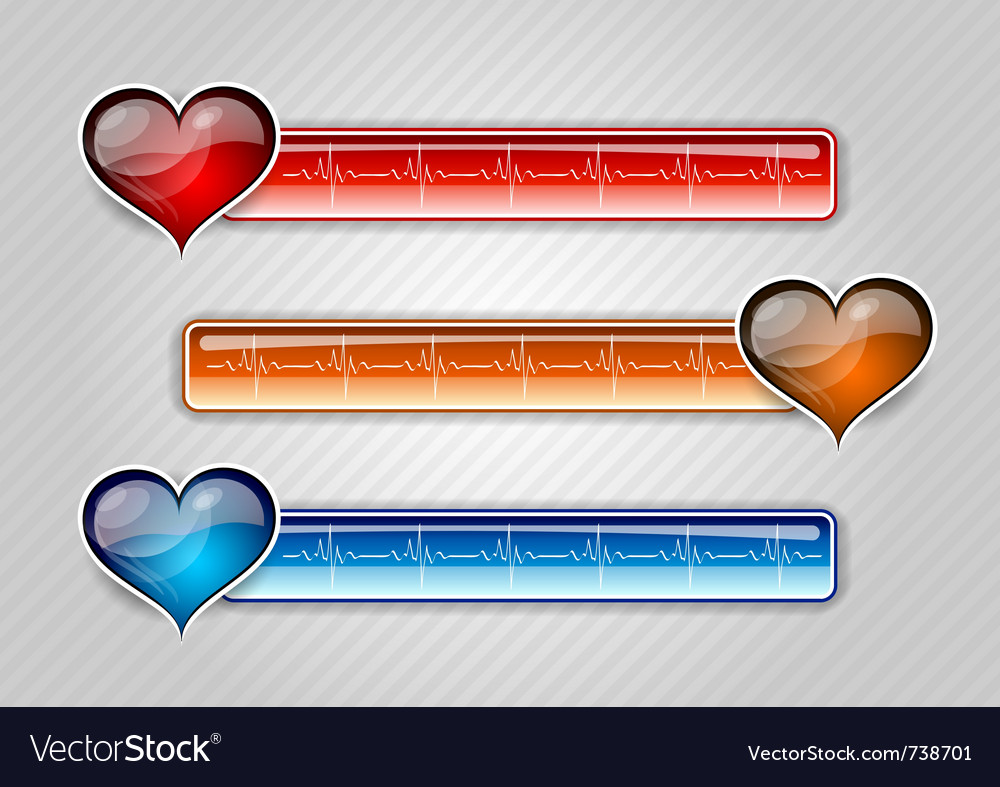 Three cardiogram buttons with hearts vector | Price: 1 Credit (USD $1)