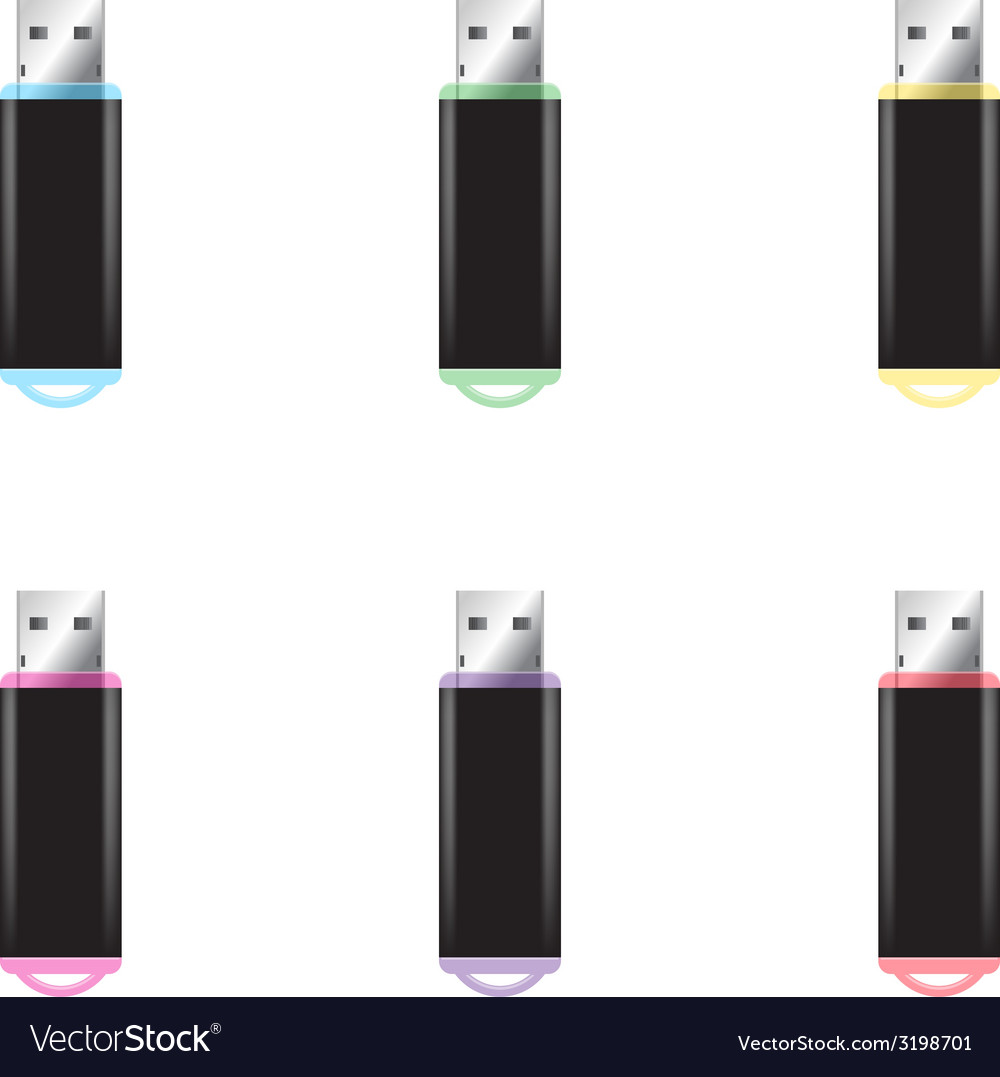 Usb flash drive isolated set vector | Price: 1 Credit (USD $1)