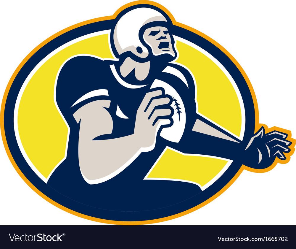 American football quarterback retro oval vector | Price: 1 Credit (USD $1)