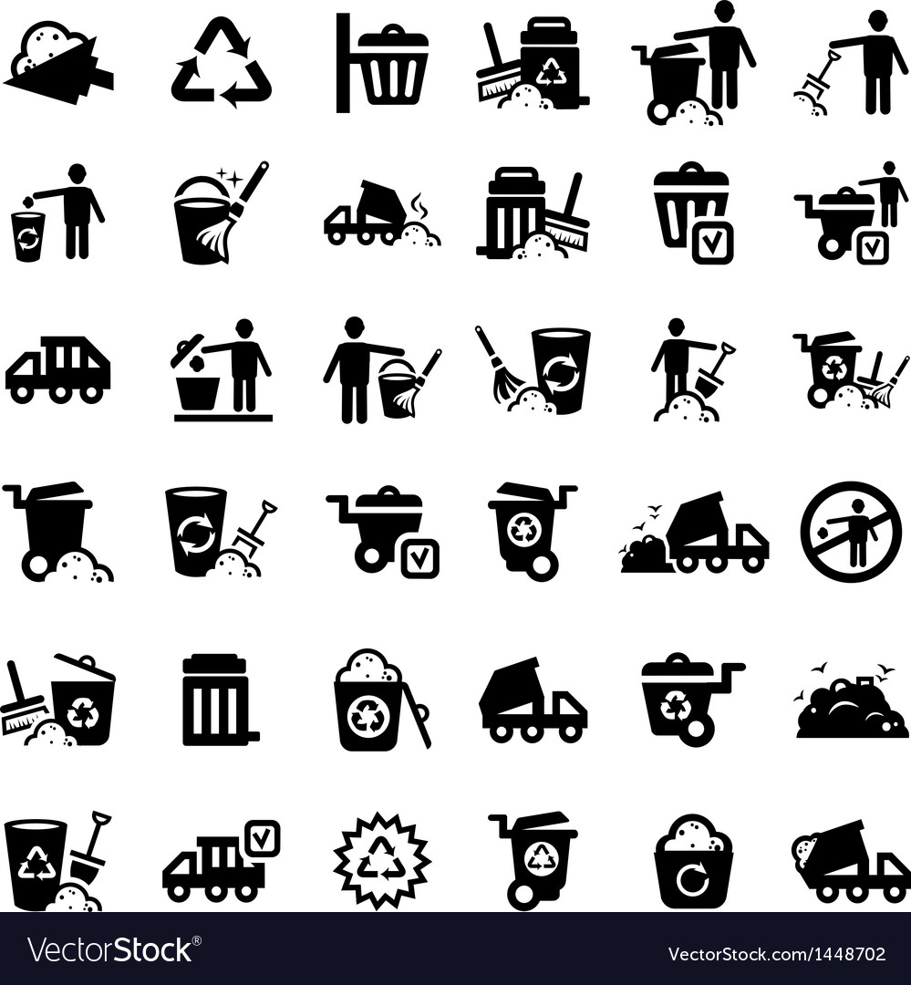 Big garbage icons set vector | Price: 1 Credit (USD $1)