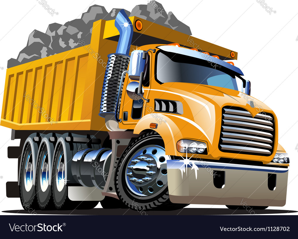 Cartoon dump truck vector | Price: 3 Credit (USD $3)