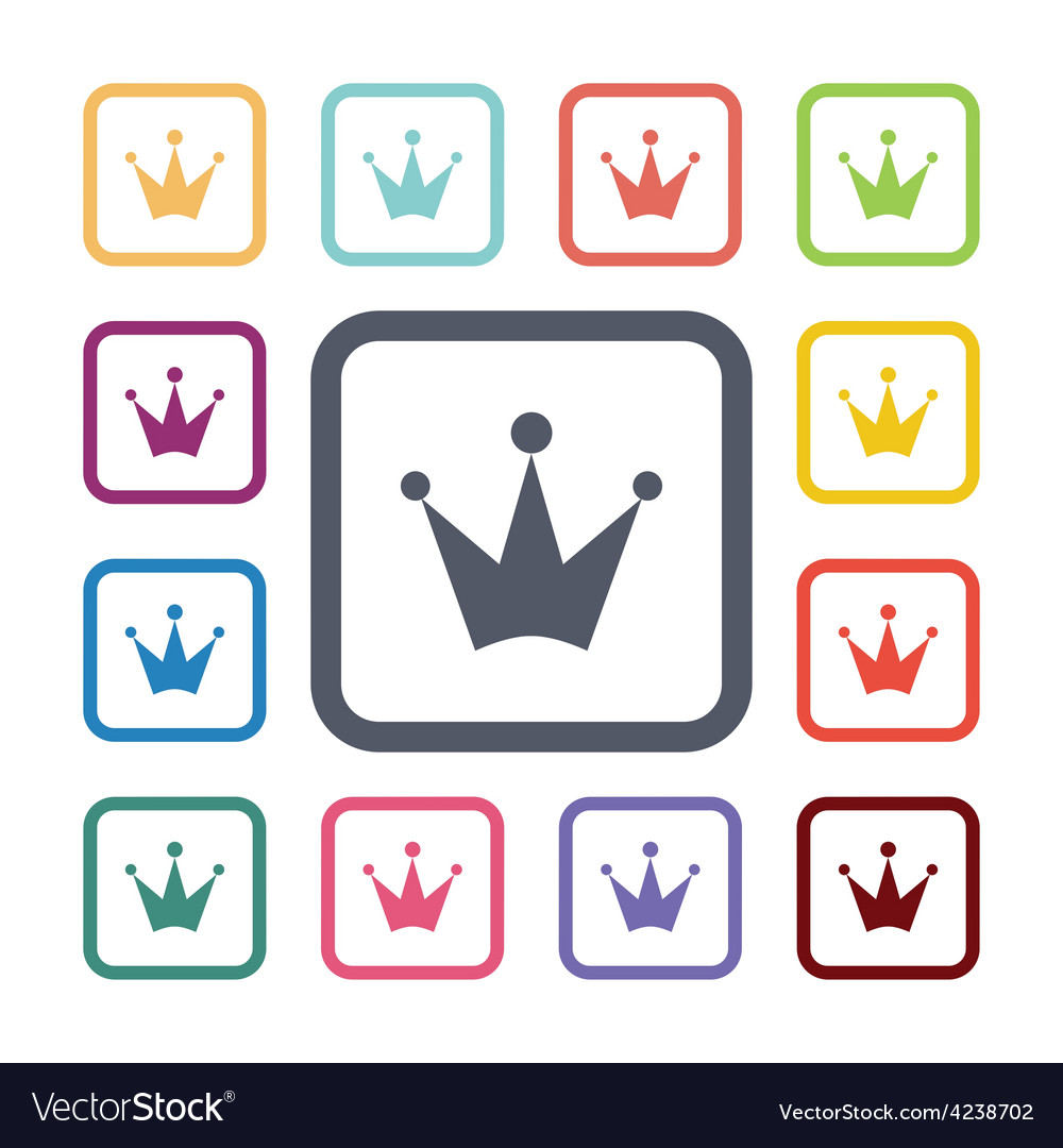 Crown flat icons set vector | Price: 1 Credit (USD $1)