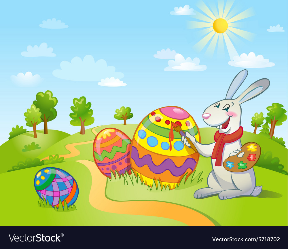 Cute easter bunny painting an egg vector | Price: 3 Credit (USD $3)