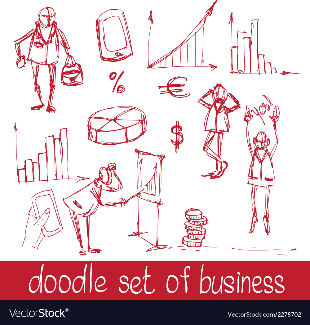 Doodle business people vector | Price: 1 Credit (USD $1)