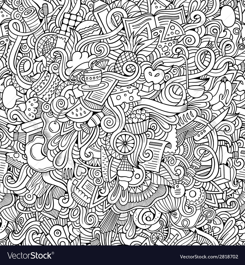 Doodles hand drawn food seamless pattern vector | Price: 1 Credit (USD $1)
