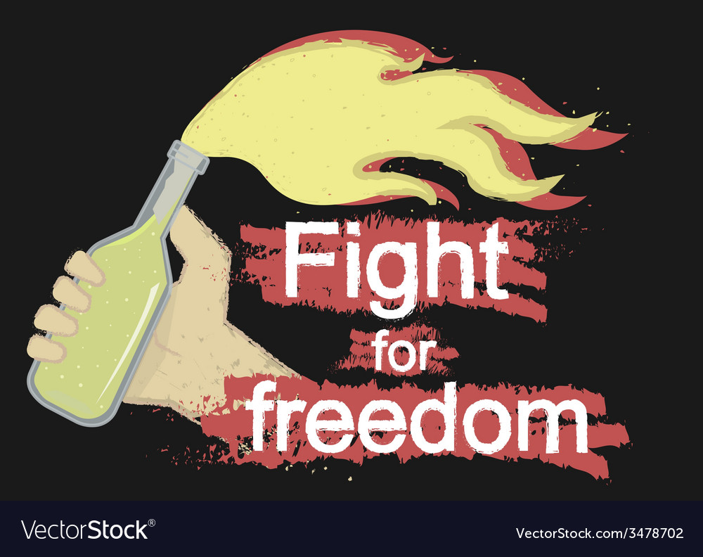 Fight for freedom logo on black vector | Price: 1 Credit (USD $1)