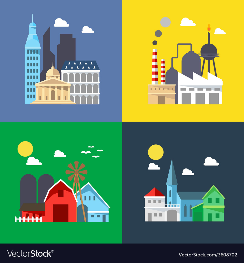 Flat design of cityscape pack vector | Price: 1 Credit (USD $1)