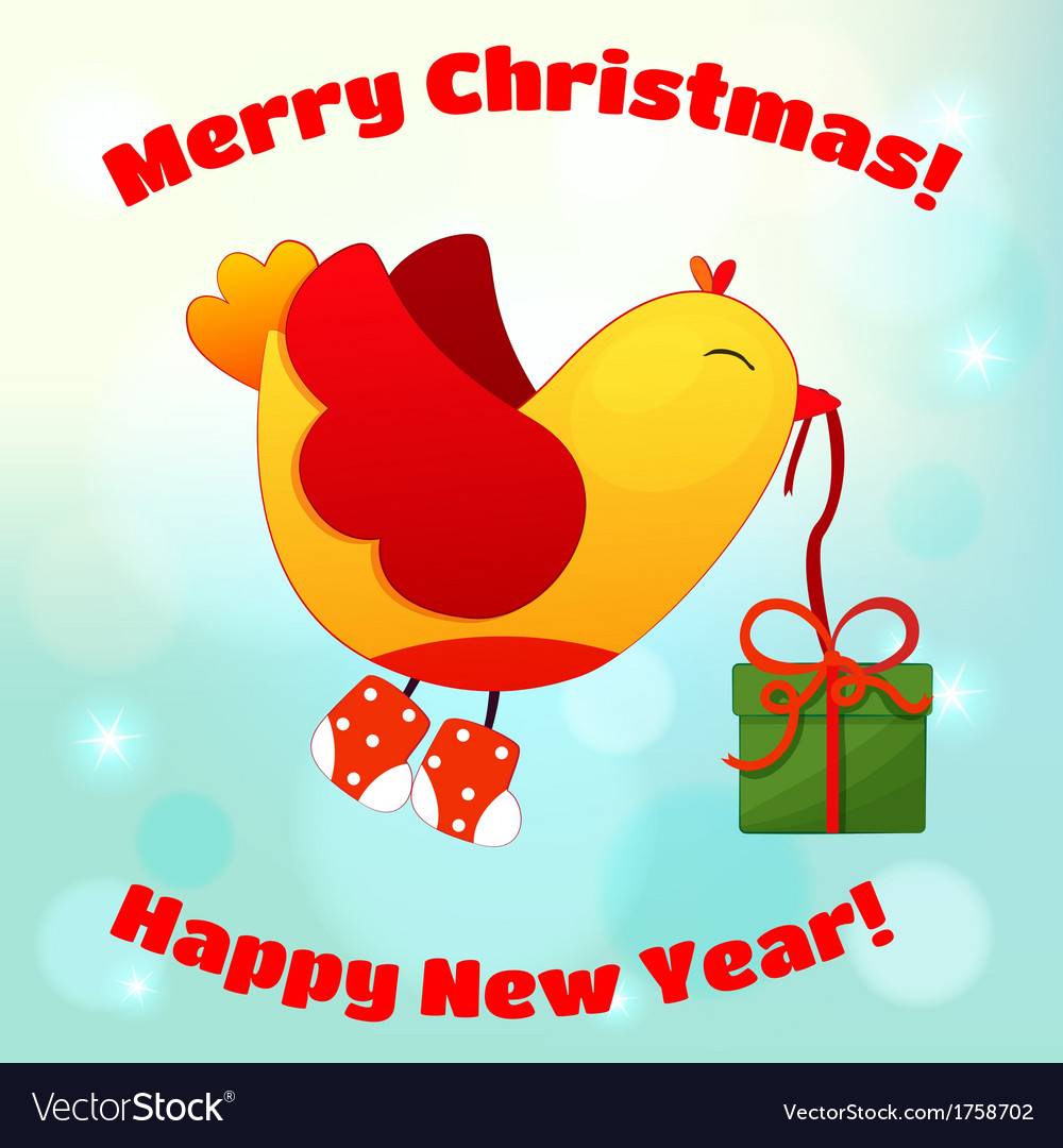 For christmas and new year with fun birds vector   Price: 1 Credit (USD $1)