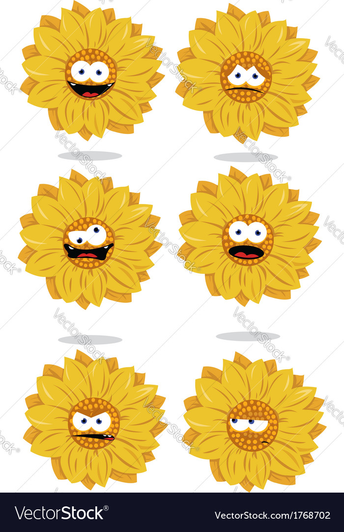 Funny sunflower emoticons vector | Price: 1 Credit (USD $1)