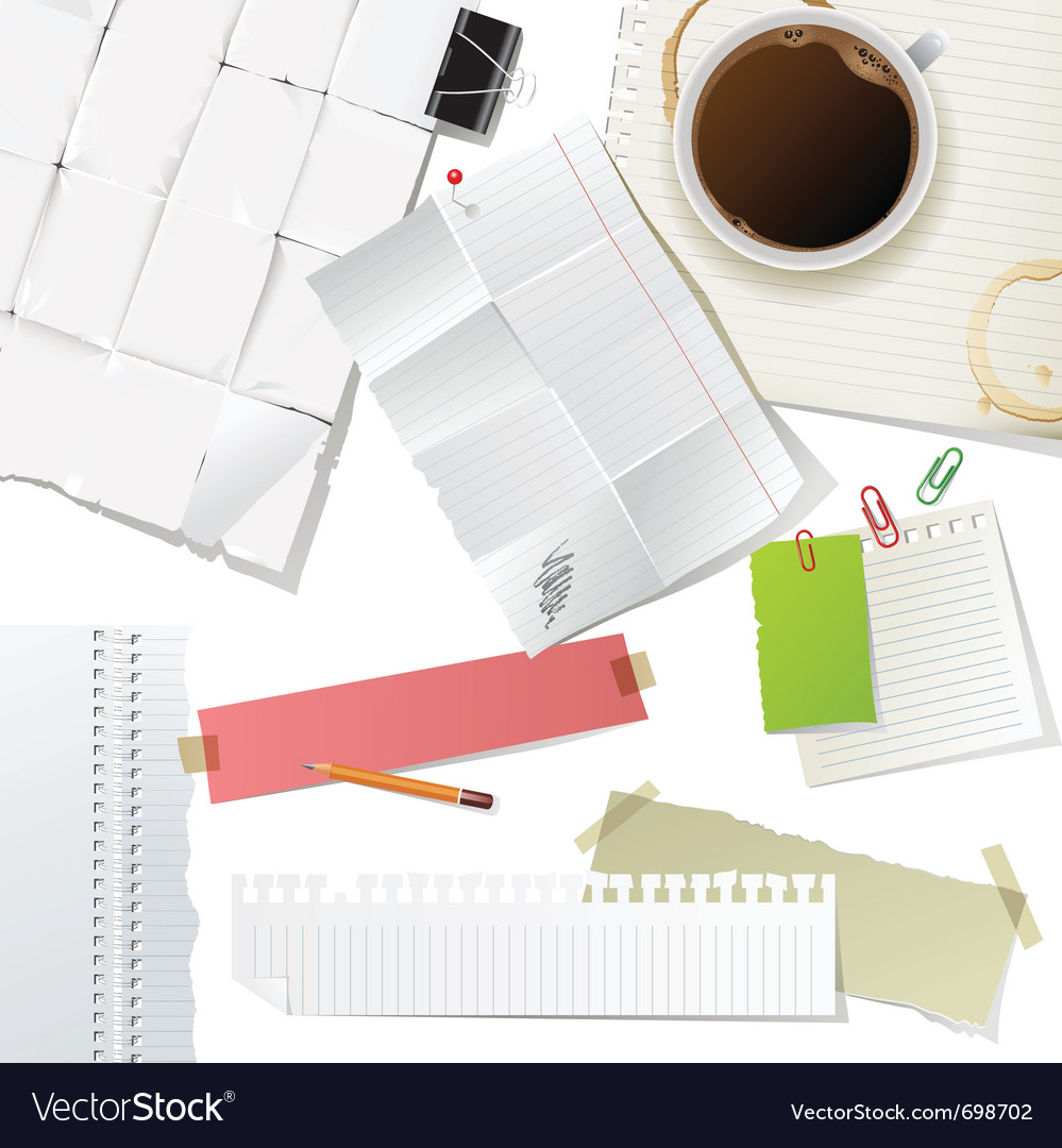 Great office supplies and paper set vector | Price: 3 Credit (USD $3)