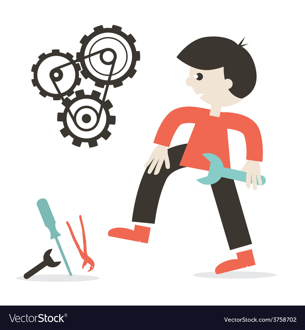 Repairing icon with man - tools and cogs vector | Price: 1 Credit (USD $1)