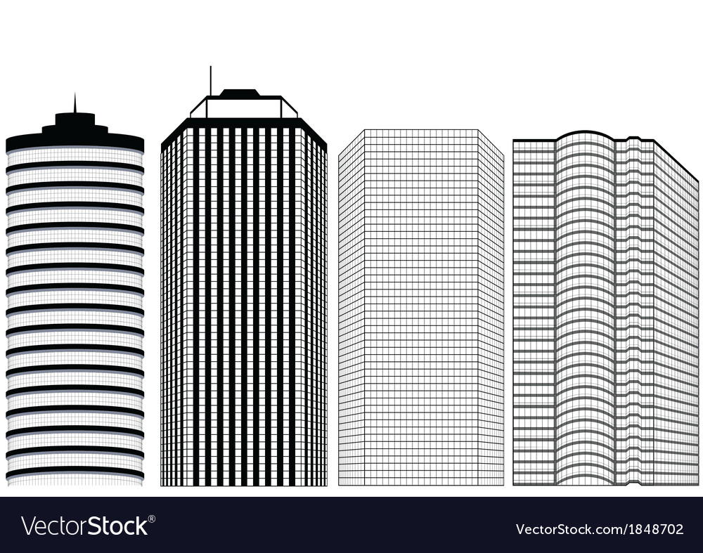 Silhouettes of skyscrapers vector | Price: 1 Credit (USD $1)